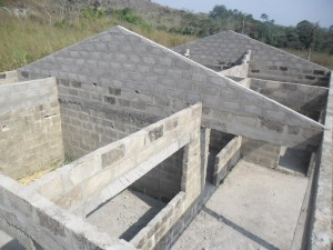 An overhead view of the clinic before the roofing
